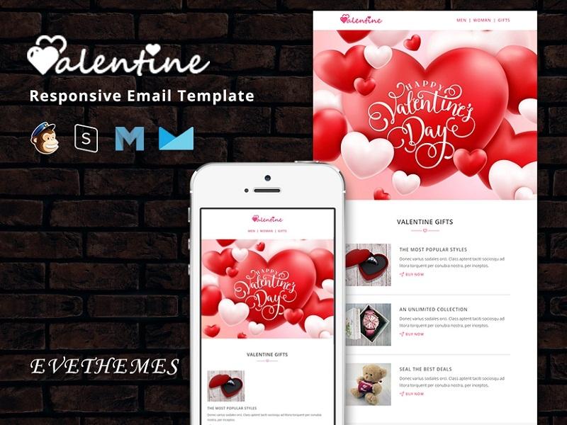 VALENTINE – Responsive Email Template shop lead gift love fashion marketing valentine mailchimp campaign responsive newsletter email template