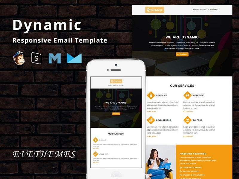 Dynamic - Responsive Email Template freelance lead promotion marketing startup finance corporate mailchimp campaign agency newsletter email template