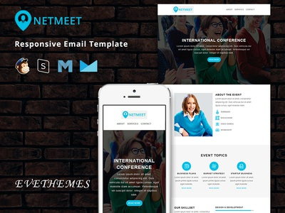 NetMeet  - Responsive Email Template freelance lead event marketing mailchimp campaign corporate consultant conference newsletter email template