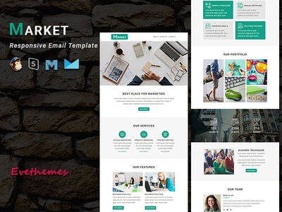 MARKET - Responsive Email Template freelance lead hire marketing office business corporate mailchimp campaign responsive newsletter email template