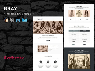 GRAY  - Responsive Email Template freelance lead marketing office business corporate mailchimp campaign responsive newsletter email template
