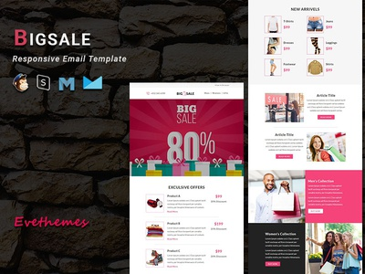 BIGSALE - Responsive Email Template freelance sale fashion gifts ecommerce shop xmas mailchimp campaign responsive newsletter email template