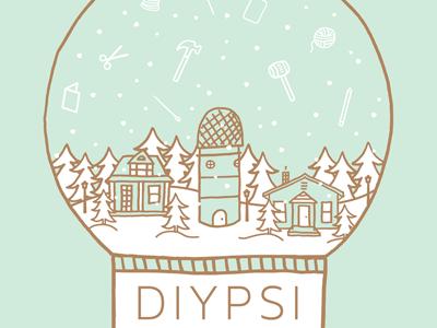 DIYpsi Poster gold mint craft yarn tree snow snow globe illustration poster