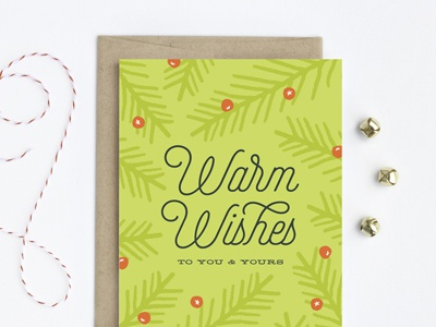 Warm Wishes Fern illustration pine holly holiday christmas card greeting card detroit card co