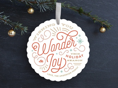 Wonder & Joy blue gold red winter ornament typography card holiday christmas minted