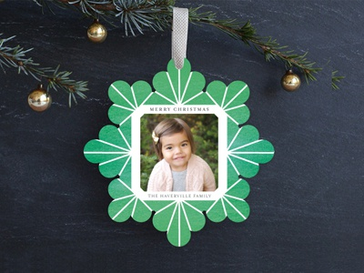 Geometric Snowflake Watercolor Ornament green watercolor card ornament holiday christmas genna cowsert