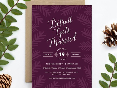 Detroit Gets Married Invitation