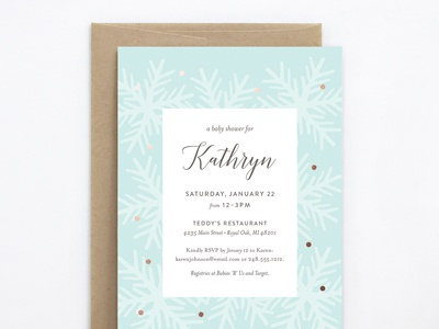 Snowfall Baby Shower Invite foil snowflakes invitation baby shower genna cowsert