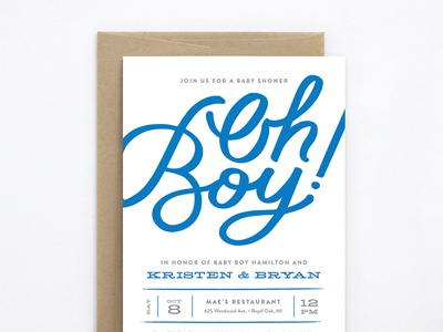 Oh Boy Baby Shower Invitation hand-lettered hand lettering invitation baby shower genna cowsert
