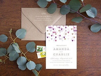 Mod Invite and Envelope invitation geometric gold purple pink watercolor genna cowsert wedding wedding collection