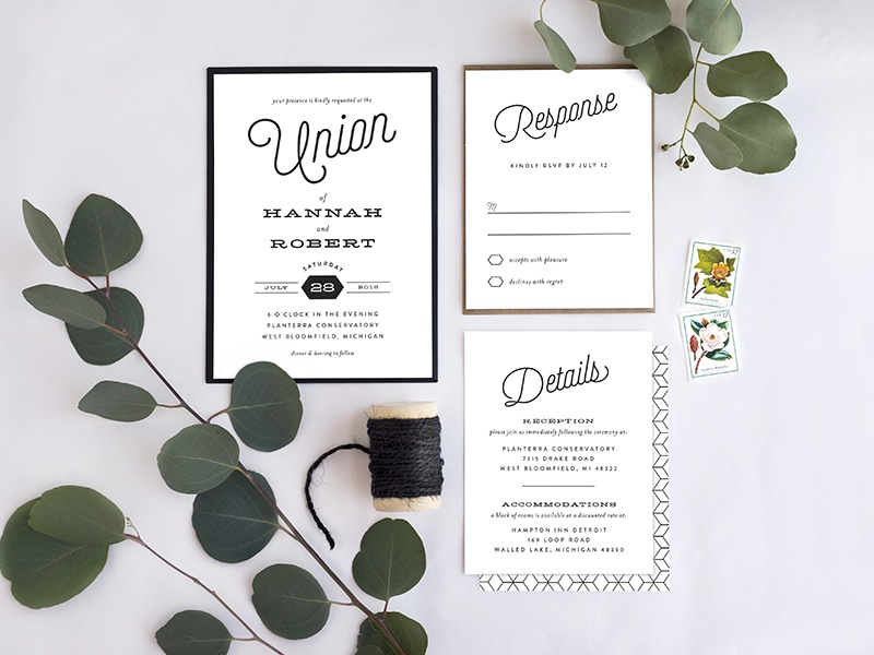 Just My Type Wedding Suite typography clean simple white black wedding collection collection wedding genna cowsert