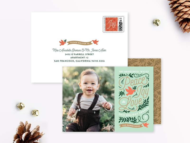Doves Holiday Card stationery typography olive branch green red doves christmas holiday card holiday minted genna cowsert