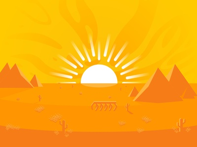 Barren Desert vector illustration affinity minimalism dramatic hot heat rays ray waves horizon lifeless monochromatic dry sun orange pyramids desert