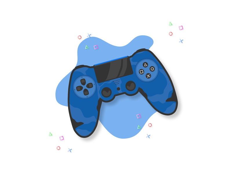 PS4 Controller affinity clean graphic shade light splash joy simple ps4 play illustration flat gaming game black camouflage camo controller