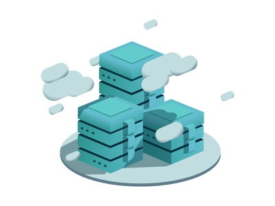 Cloud Tower isometric illustration tower storage clouds isometric affinity web design graphic branding icon vector clean