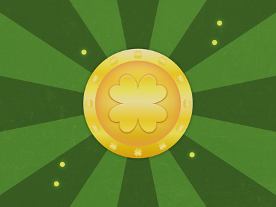 Lucky Golden Coin 4-leaf clover graphic clean minimal illustration affinity yellow money lucky charms lucky patricks day green coin gold