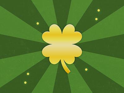 Golden 4-Leaf Clover mark design logo graphic icon illustration vector affinity designer lucky charms shadow pop grunge saint patricks day patty saint green charms gold lucky clover