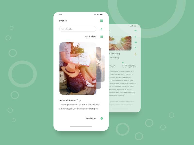 Event Slider interactive slider image slider images social network ui ux green clean affinitydesigner slider design reader feed events minimal