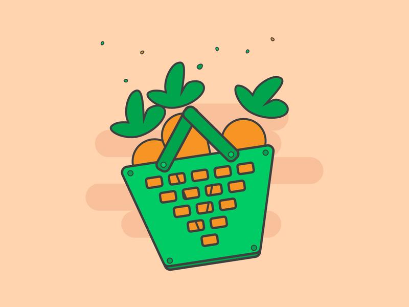 Shopping Basket branding graphic vector shopping basket illustration concept illustrator minimalist minimal clean icon eating food healthy carrot carrots basket shopping