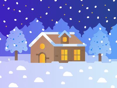 Christmas Time minimalistic winterfell winter snowy night woods cabin snowfall illustration snowflake affinity nightlight white blue fire home christmas tree night house snow christmas