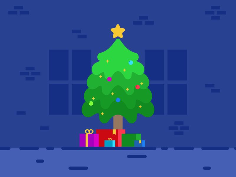 Christmas Tree christmas christmas tree indoors tree presents gifts illustration minimalism affinitydesigner vector twinkle star home scenes decor decoration holidays
