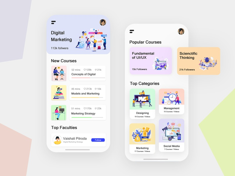 e-Learning Mobile App uiux ux ui online course learning app learning flat design minimal education app education ios android app design design application design app mobile app mobile elearning courses elearning