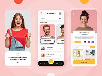 Find Designer App app development ui ios android design application design uiux designer portfolio mobile application mobile app creatives finding find job find designer designer find