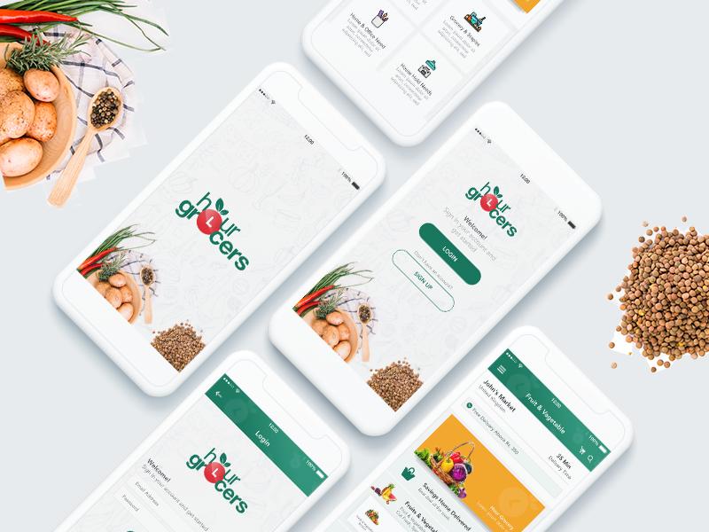 Grocery App splash screen login sign up android material design ios ui ux design app application design grocery grocery app