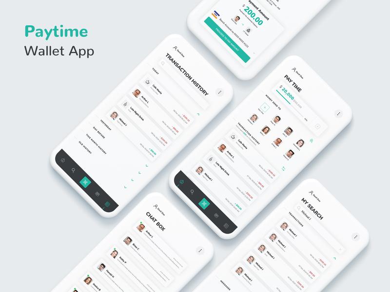 Paytime - Mobile App UI Kit android app development design ios11 ui uiux application design ios android web development company mobile app development company uidesign