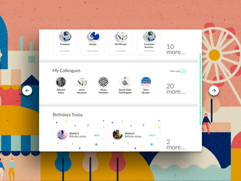 Teams, Colleagues, Birthday cards view iPad ui product design flat ui design