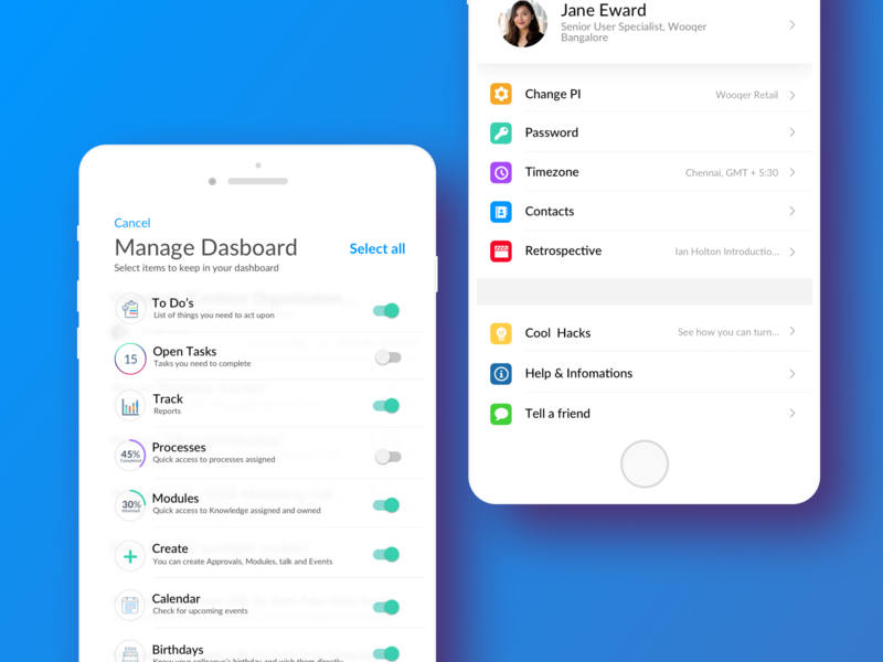 Manage Dashboard and Setting screen design colour palette app product design ui typography design