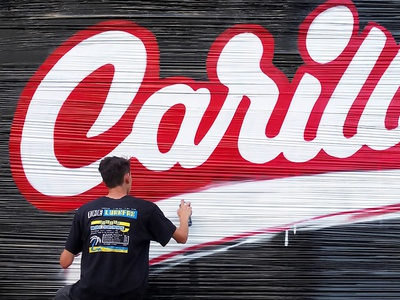 Le Carillon branding mural graffiti illustration type lettering typography logo design handwriting calligraphy