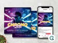 Night Club Flyer Template 80retro 90s synthwave instagram premade techno summer birthday party concert poster party flyer hiphop party event night out night club concert flyer music event party poster party invitation instagram post