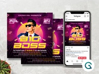 DJ Party Flyer Template synthwave 80 retro 90s print template dj concert techno summer birthday party concert poster party flyer hiphop party event night out night club concert flyer music event party poster party invitation instagram post