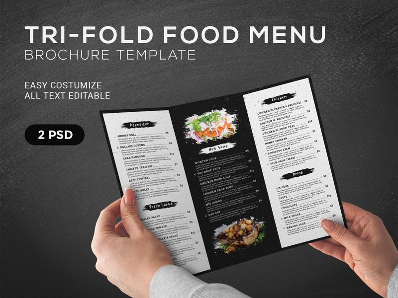 trifold food menu brochure template by gilang tito dharmawan