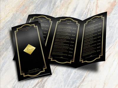TriFold Luxury Restaurant Menu