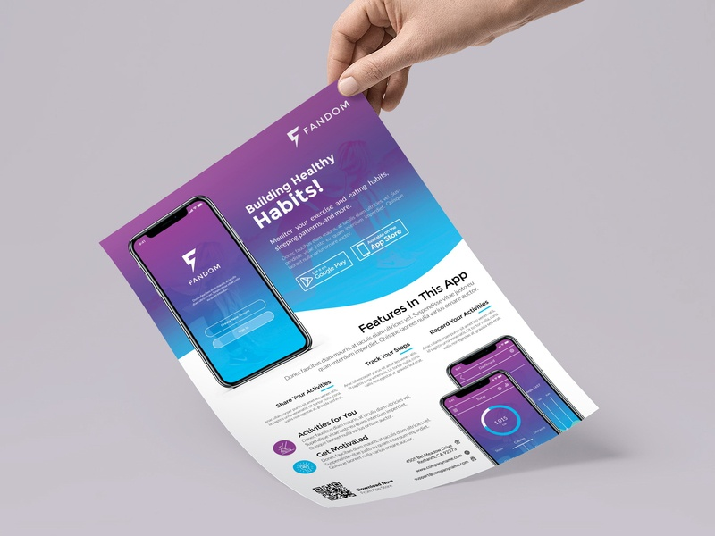 Mobile App Flyer Template promotion design application commerce duotone flat business phone android multipurpose poster agency developer mobile app print template flyer advertisment ads