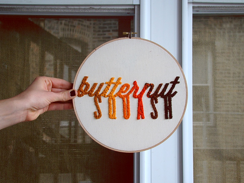 butternut squash typography needlepoint embroidery