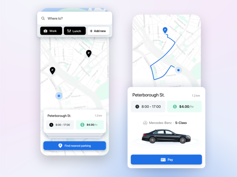 Smart Parking App product design ux map car app ui parking mobile