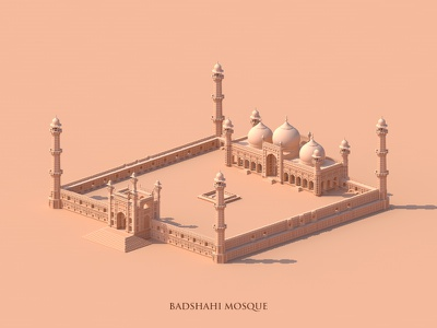 Badshahi Mosque monochrome minimal isometric illustration drawing buiding architecture 3d art