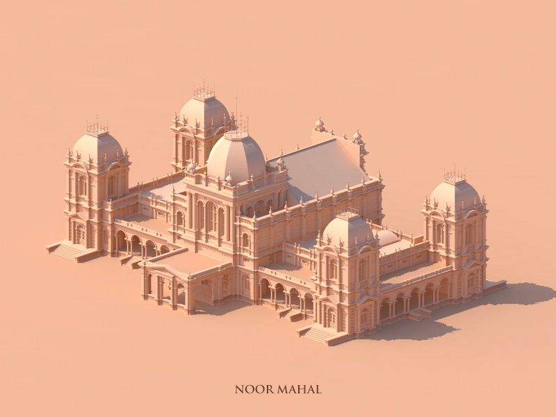 Noor Mahal vector isometric architecture monochrome drawing illustration minimal