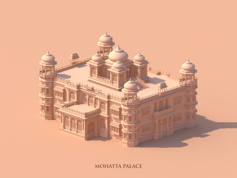 Mohatta Palace vector monochrome minimal isometric illustration drawing architecture