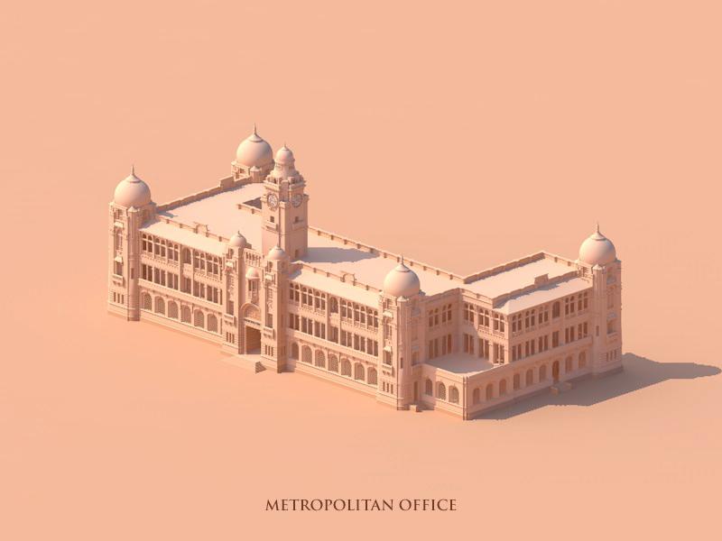 Metropolitan Office Karachi vector monochrome minimal isometric illustration drawing architecture