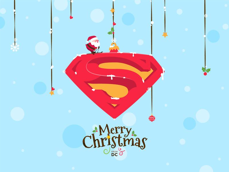 Holiday Card santa christmas dccomics superman vector minimal illustration design holiday card holidays fiction