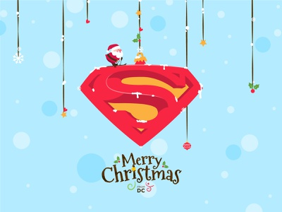 Holiday Card santa christmas dccomics superman vector minimal illustration design holiday card holidays fiction