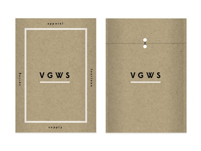 VGWS envelope folder packing edmond sans lost type rendering apparel supply look book shipping craft