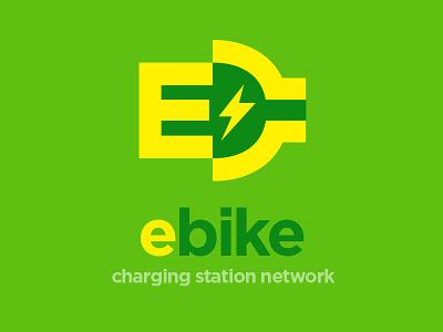 E-Bike Charging Station Network Logo branding green plug lightning e negative space logo bike