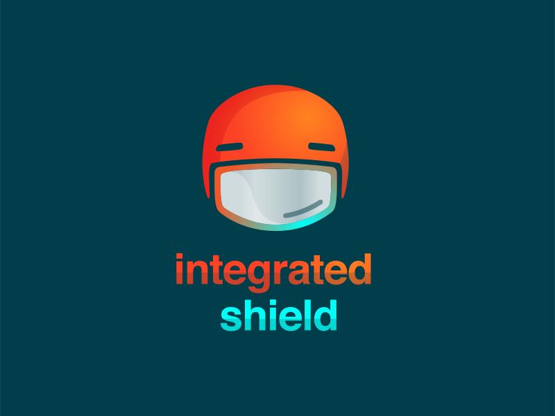 Logo & Tech Icon For a Bike Helmet w/ Integrated Shield cycling helmet tech icon shadow teal helvetica orange logo