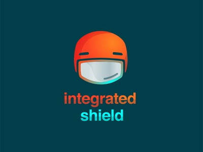 Logo & Tech Icon For a Bike Helmet w/ Integrated Shield cycling helmet tech icon shadow teal helvetica orange logo