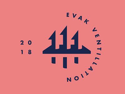 Evak Vent Technology Logo negative space clean simple ski action sports snowboarding futura vent arrows logo